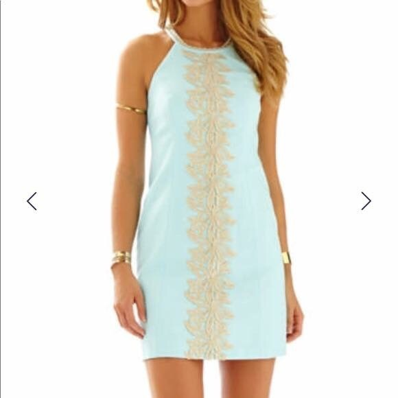 d3e537dc8f6 Lilly Pulitzer Dresses & Skirts - Lilly Pulitzer Pearl Shift - Seafoam and  Gold